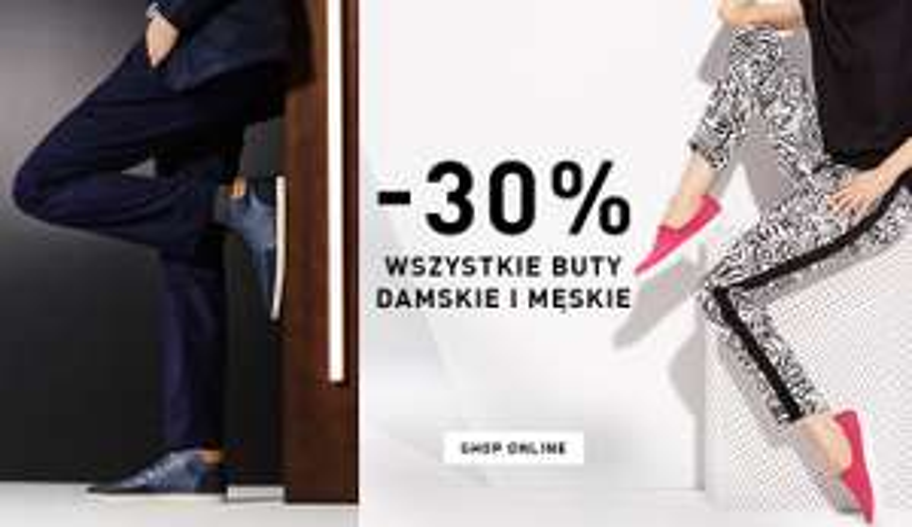 Rabat 30% na buty damskie i męskie @ Reserved