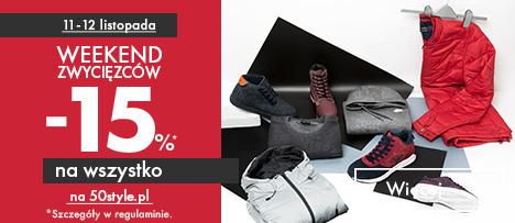 Weekend zwycięzców! -15% na wszystko na 50style.pl tylko do 12 listopada