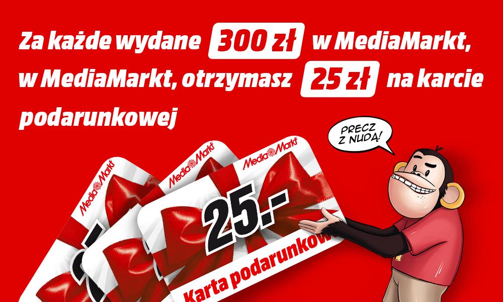 25zł na karcie podarunkowej za każde wydane 300zł @ Media Markt