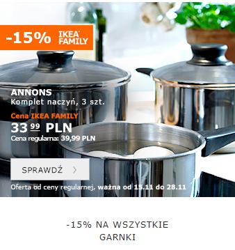 -15% na wszystkie garnki i patelnie @ Ikea Family