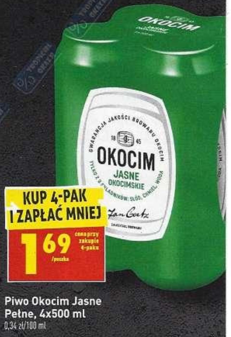 Piwo Okocim Jasne Okocimskie puszka 500ml @Biedronka