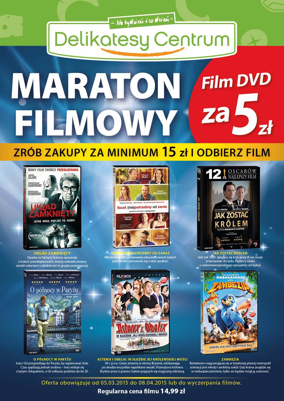 Maraton filmowy (DVD za 5zł) @ Delikatesy Centrum