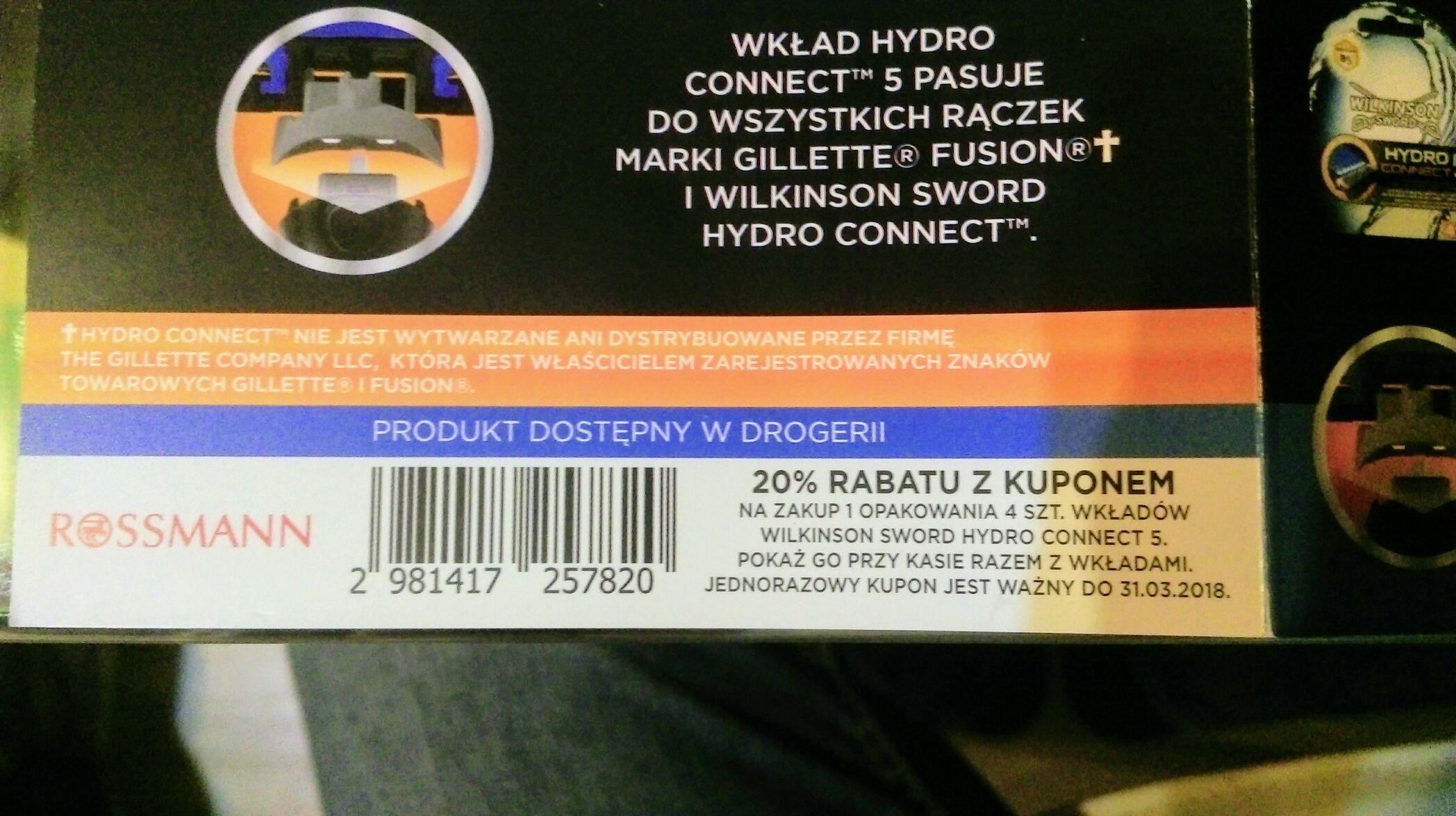 Rossman kupon znizkowy na zakup ostrzy wilkinson sword hydro connect 5