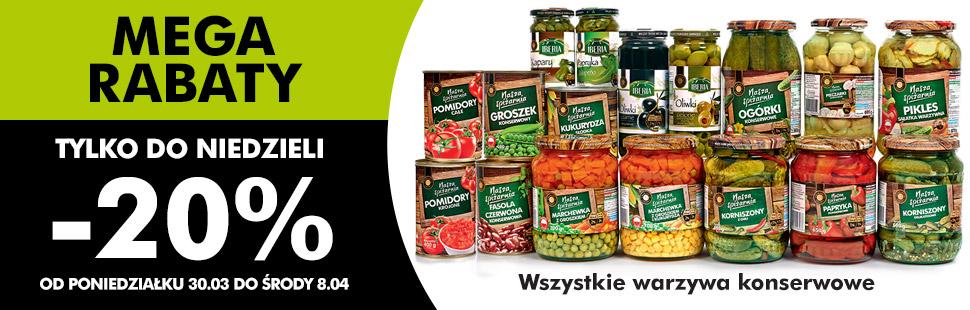 MEGA RABATY!!! -20% na wszystkie warzywa konserwowe @ Biedronka