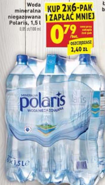 Woda niegazowana Polaris 1,5L za 0,79zł(przy zakupie 2 zgrzewek) Biedronka
