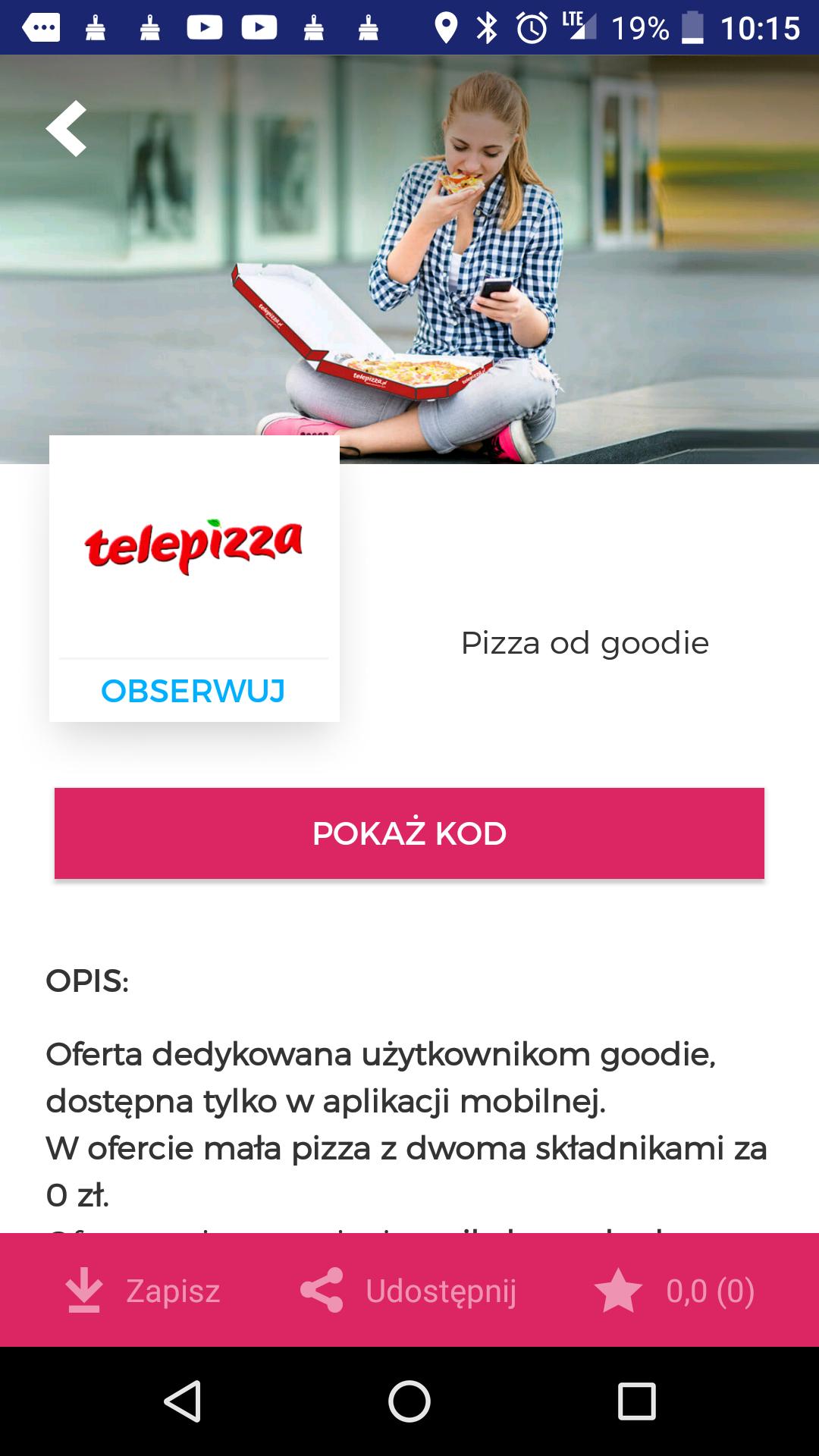 Mała pizza z dwoma składnikami za darmo. @Telepizza
