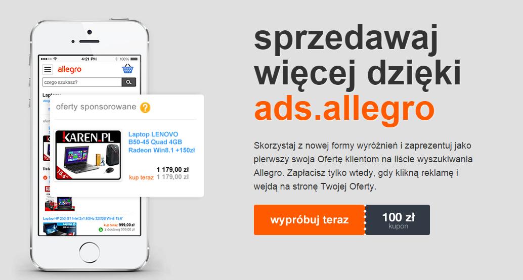 Kupon 100 zł do wykorzystania na promowanie aukcji w Allegro.pl - ZA DARMO