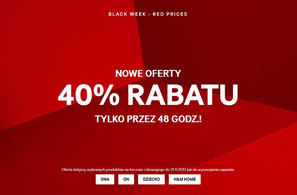[Black Friday] 40% rabatu na wybrane produkty (damskie, męskie, dziecięce, domowe) @ H&M