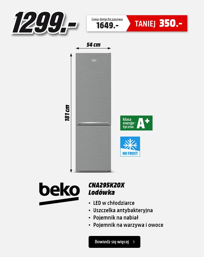 Lodówka Beko CNA295K20X (181cm, No Frost, srebrna) za 1299zł @ Media Markt