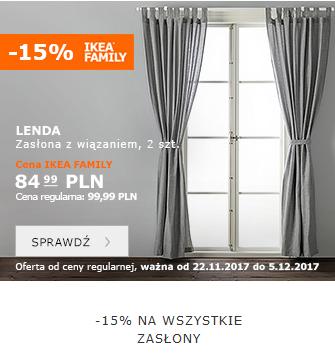 -15% na wszystkie zasłony i firanki @ Ikea Family