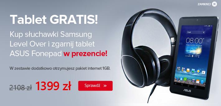 Słuchawki  bezprzewodowe Samsung Level Over-Ear + ASUS Fonepad 7 ME372CL+internet 1GB za 1399zł z wysyłką @X-kom