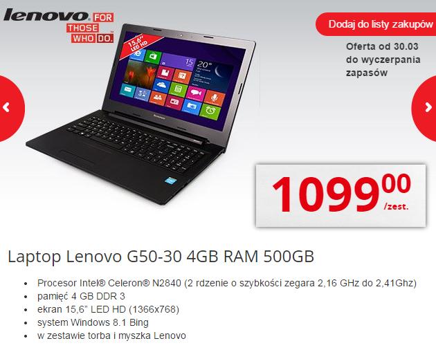 Laptop Lenovo G50-30 za 899zł (2x2,41GHz, 15,6', 4 GB RAM, dysk 500GB, Windows 8.1)+mysz+torba @Biedronka