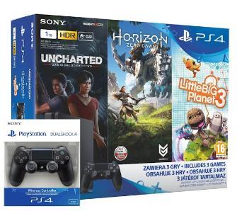 PS4 Slim 1TB +3 gry + drugi pad