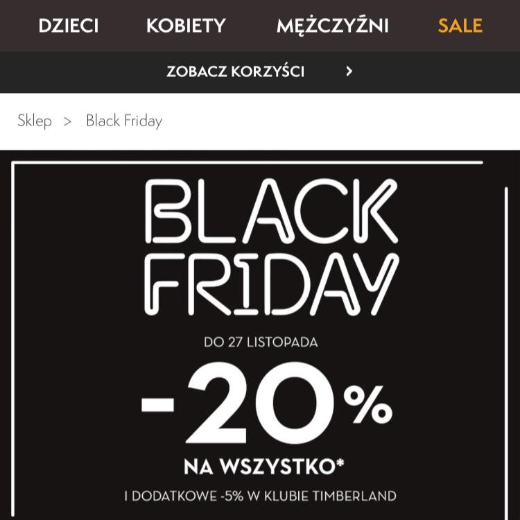 Timberland - Black friday -20% kolejne 5% za członkostwo w klubie