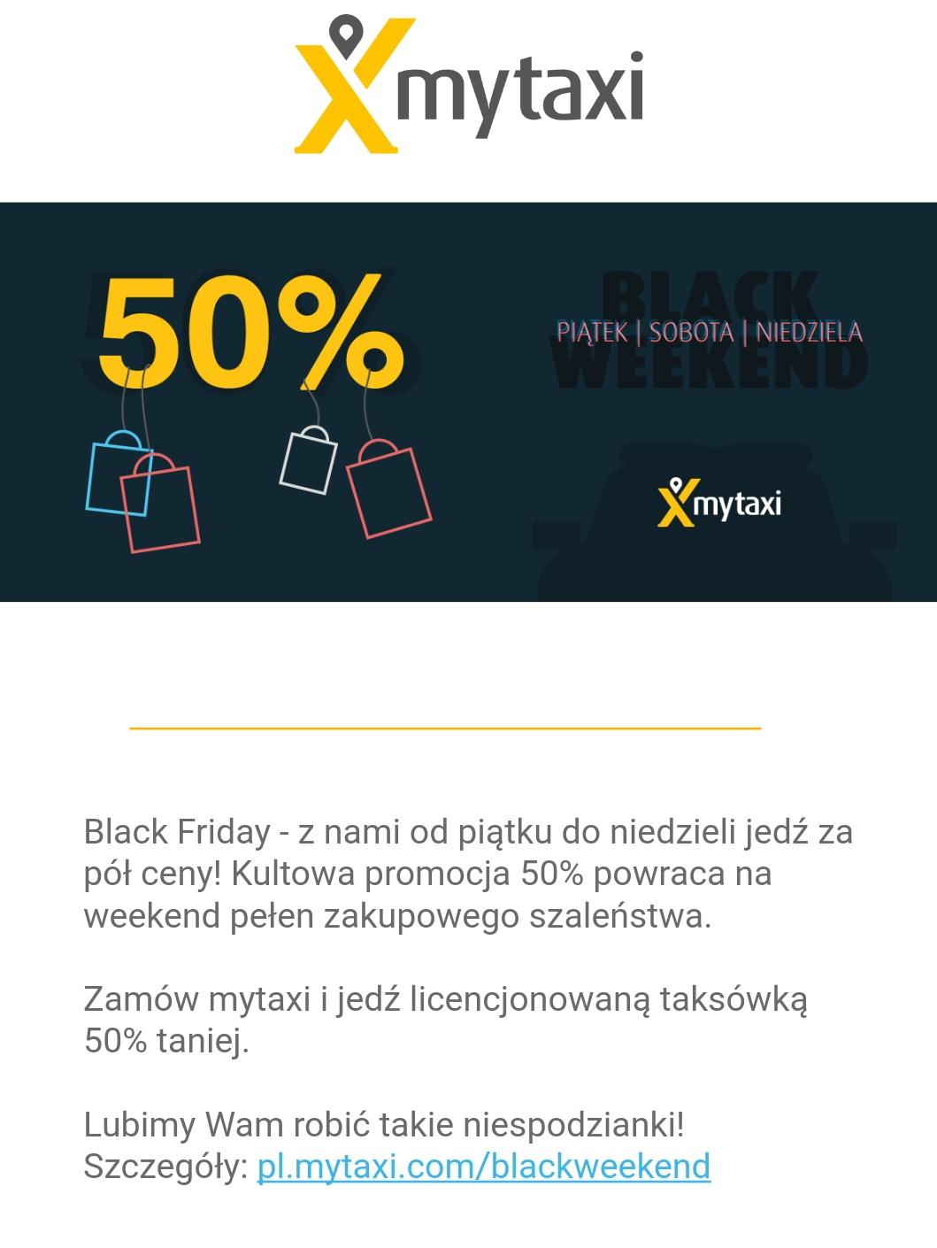 BlackFriday @MyTaxi -50% Promocja obowiązuje od 24 do 26 listopada
