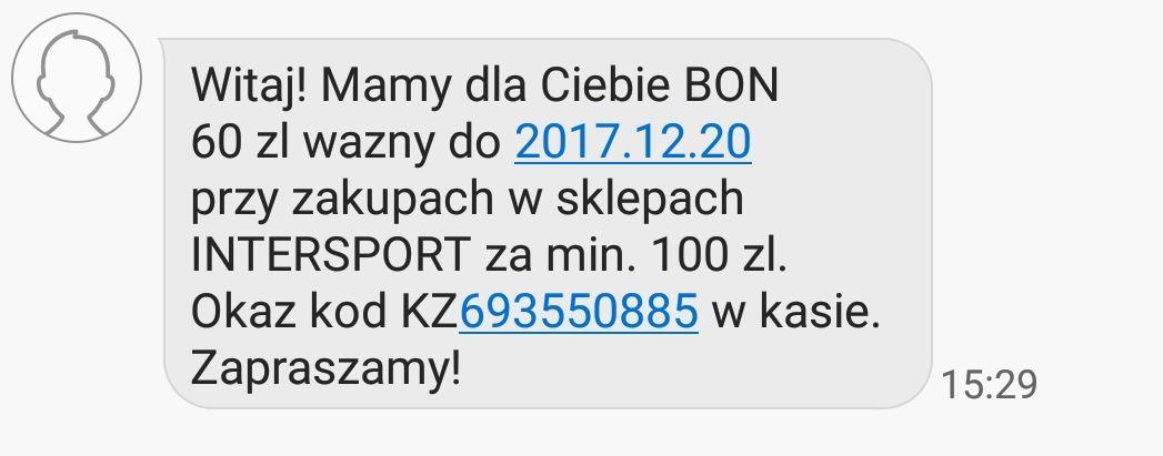 Bon 60 zł dla posiadaczy karty INTERSPORT.