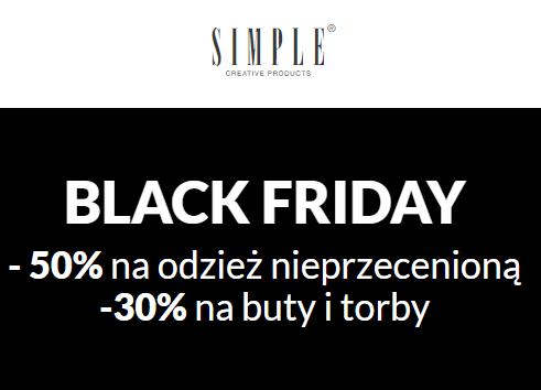Simple -50% na nieprzecenioną odzież, -30% na buty i torby