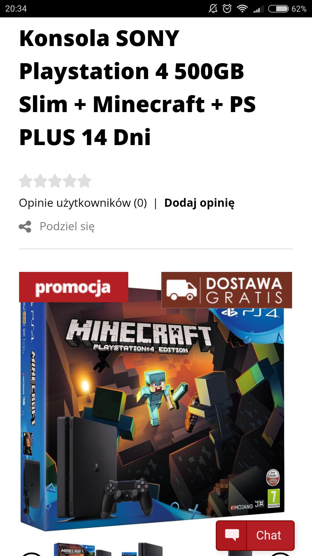 PS4 slim 500gb + Minecraft PL dystrybucja