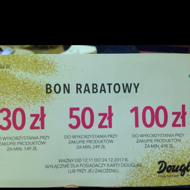 Douglas bon rabatowy 30, 50, 100 zł