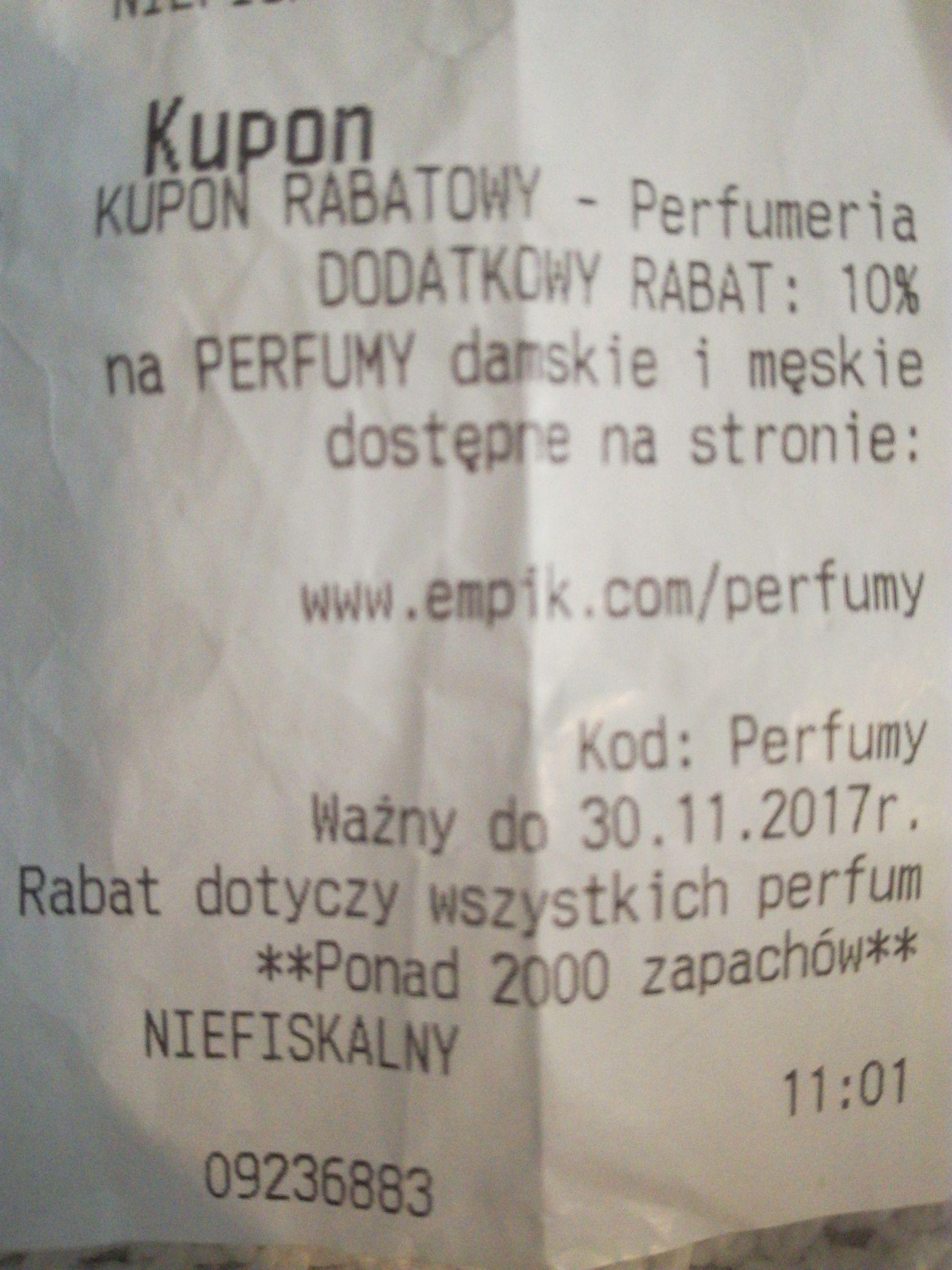 Dodatkowy rabat na perfumy w Empik.com 10%