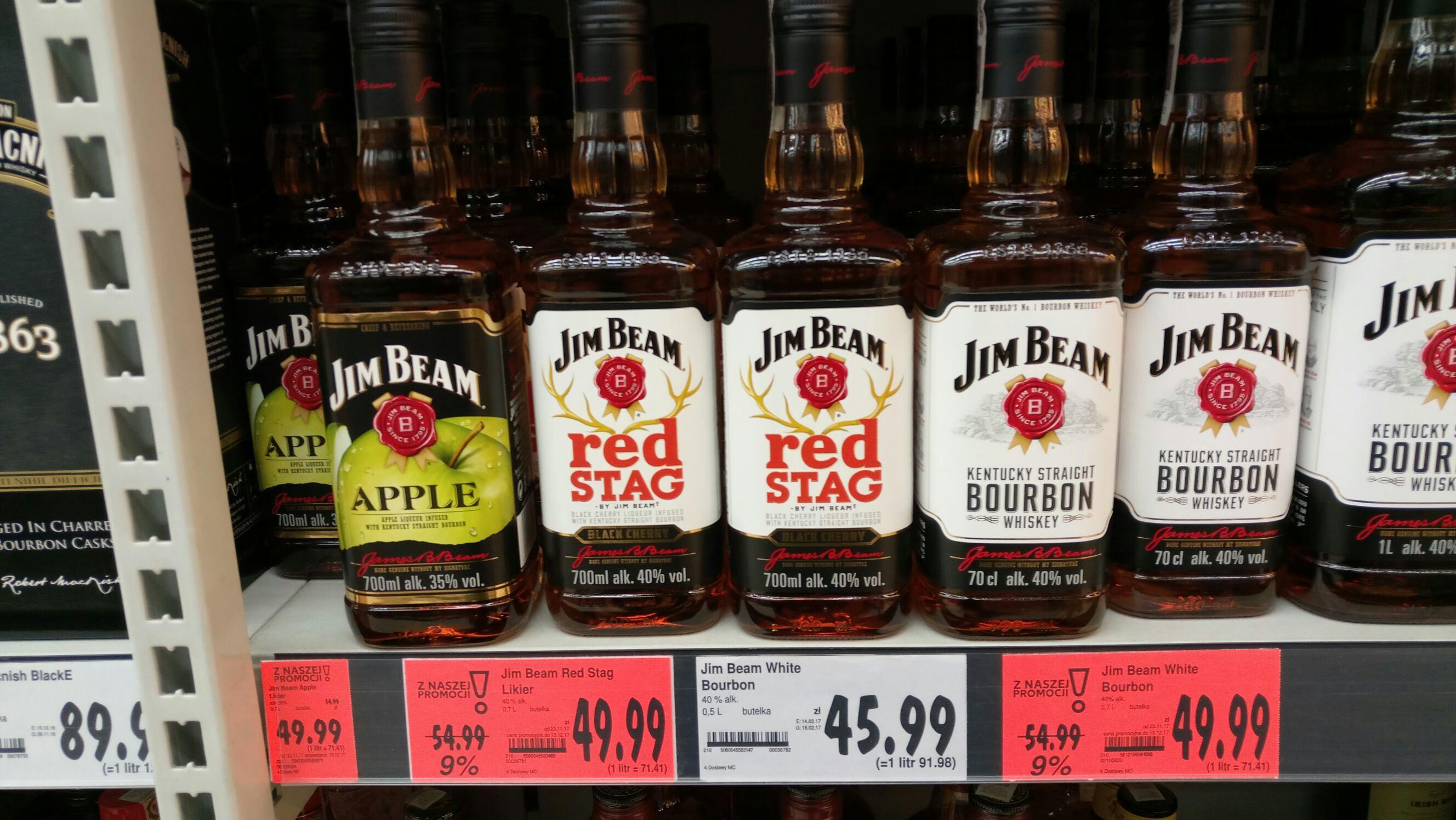 Jim Beam Bourbon, Red Stag, Apple 0,7l za 49,99 zł @ Kaufland
