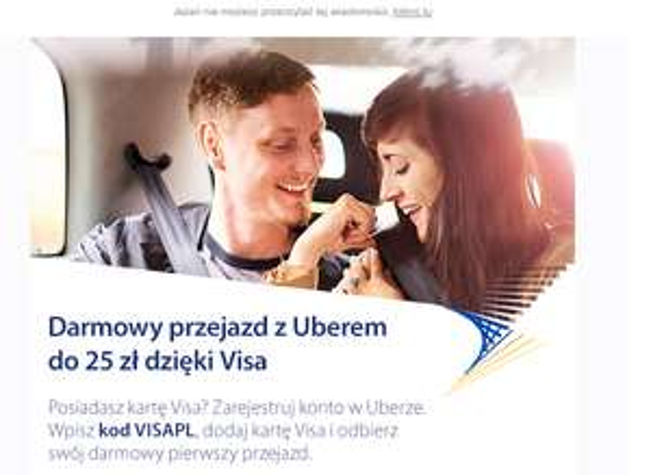Darmowy pierwszy przejazd do 25zł dla posiadaczy kart VISA @Uber
