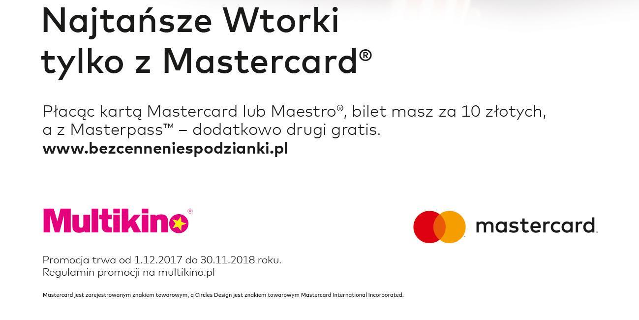 Wtorki z Mastercard w Multikinie (możliwe 2 bilety za 11zł)