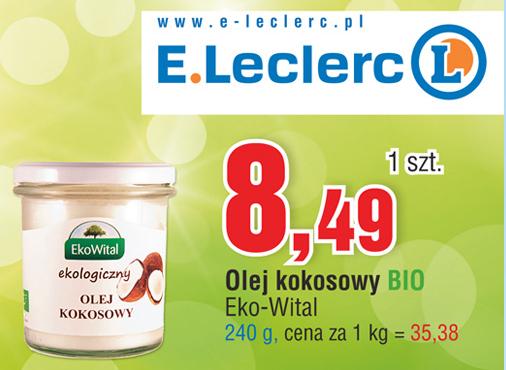 Ekologiczny olej kokosowy 240g za 8,49zł @ E.Leclerc