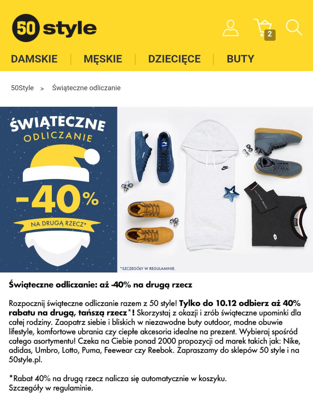Świąteczne odliczanie: -40% na drugą rzecz@50style.pl
