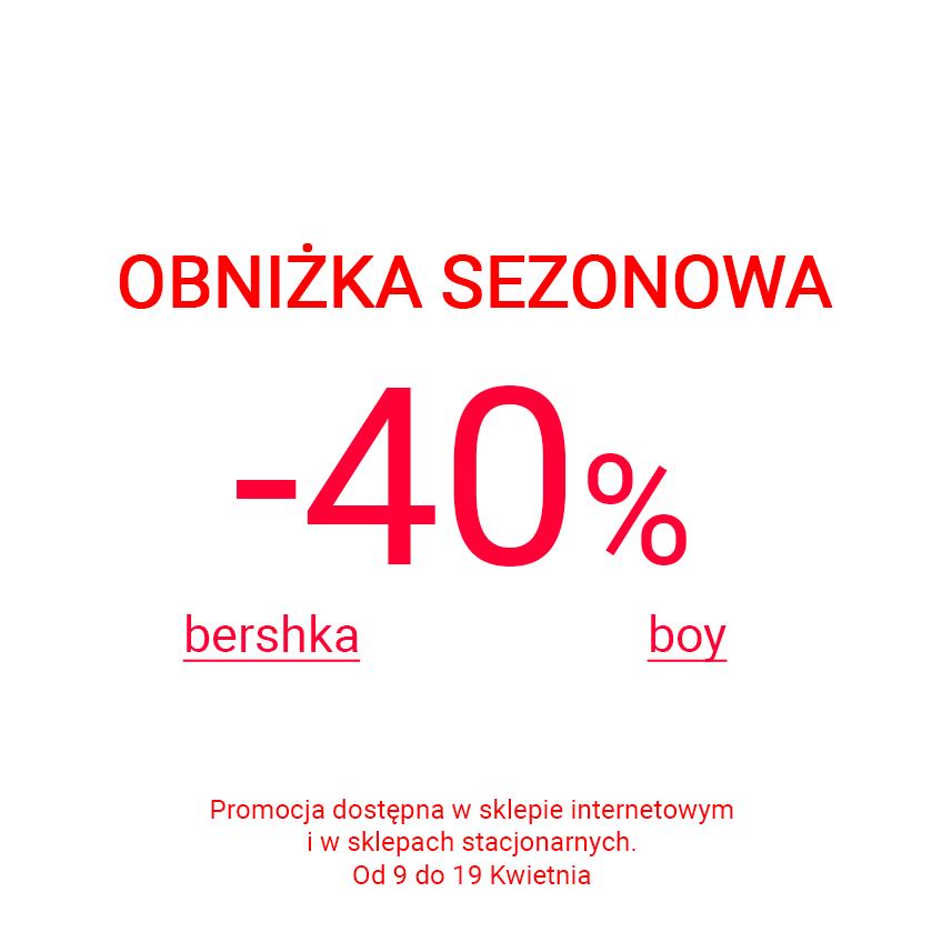 Międzysezonowa obniżka cen i rabaty -40% @ Bershka