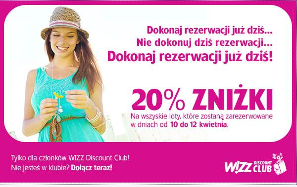 Dodatkowe 20% rabatu na WSZYSTKIE loty dla posiadaczy Wizz Discount Club @ Wizz Air