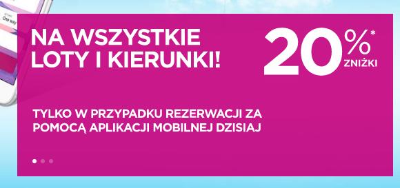 -20% na bilety WizzAir kupione przez apkę