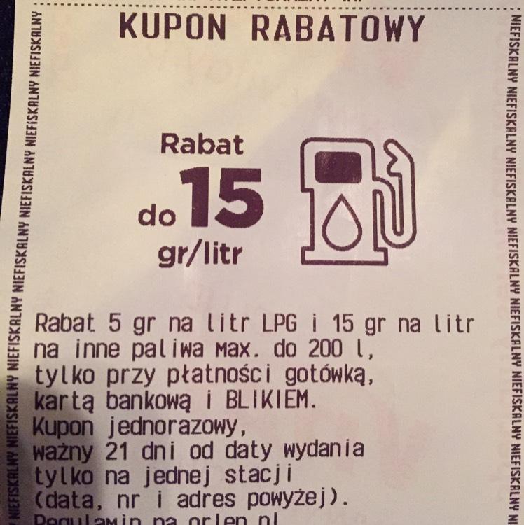 Orlen - 15gr/litr Rzeszów ul. Warszawska 10