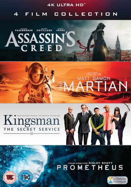Zestaw 4 filmów: Assassin's Creed, Kingsman, Prometheus, The Martian (4K, Ultra HD)