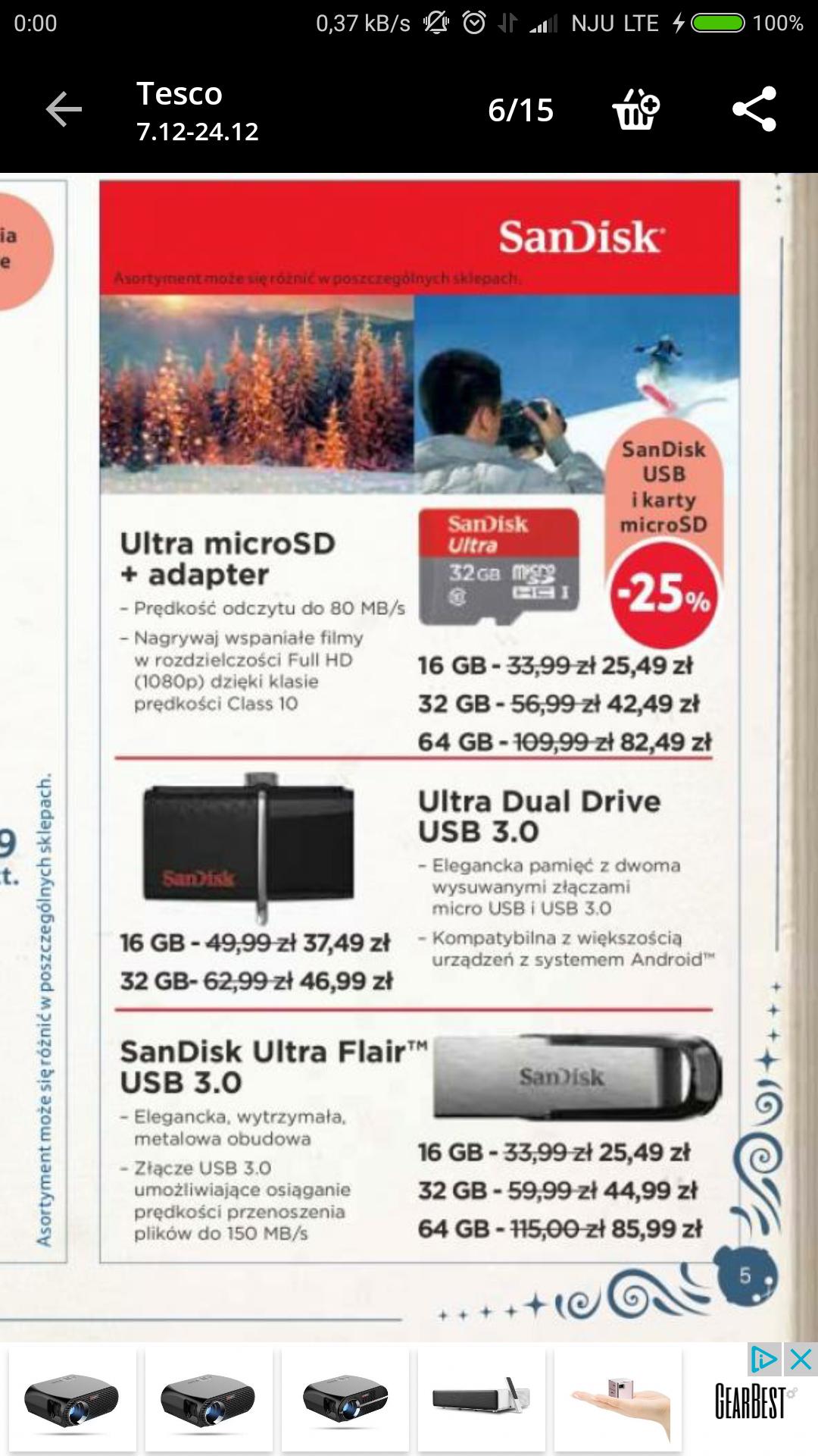 Sandisk -25% - karty microsd i usb 3.0 pendrive - Tesco