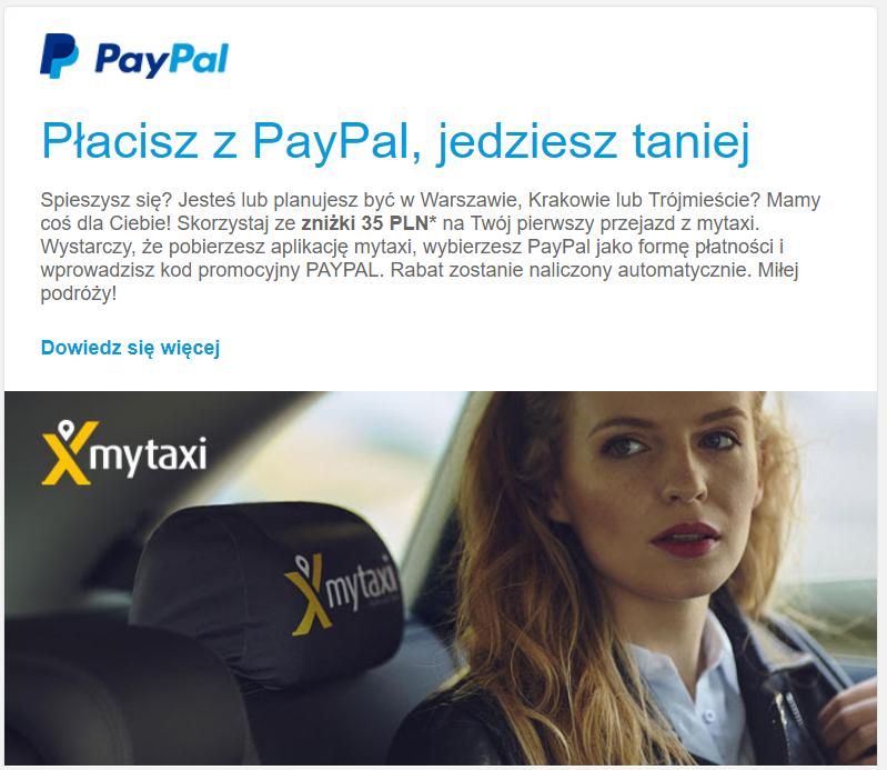 Mytaxi - kod na 35 zł od paypal na pierwszy przejazd