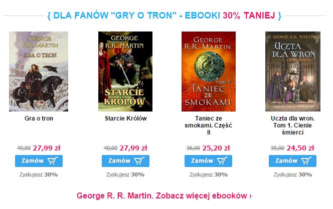 "Cała seria książek z G.R.R Martina ""Gra o Tron"" 30% taniej (eBooki)@Virtualo"