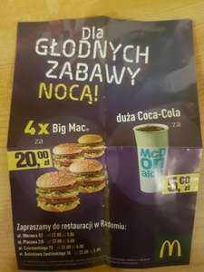 Kupon na 4 Big Mac za 20 zł