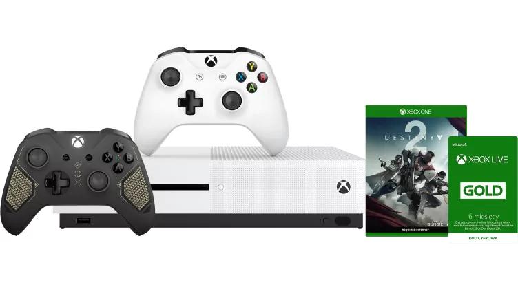 Xbox One S 500GB + 2. Kontroler + Gra Destiny 2 + 6 miesięcy Xbox Live Gold