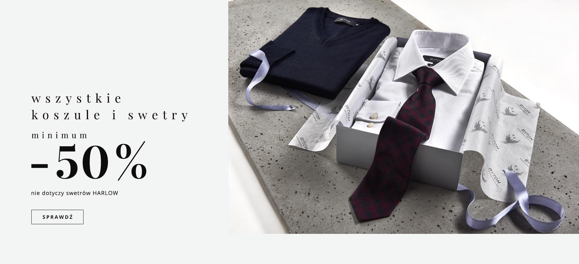Minimum 50% rabatu na koszule i swetry (ceny od 50zł) @ Bytom