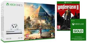 Xbox One S 500 GB + Assassin's Creed Origins + Wolfenstein II The New Colossus + Xbox Live Gold 6 miesięcy @Redcoon