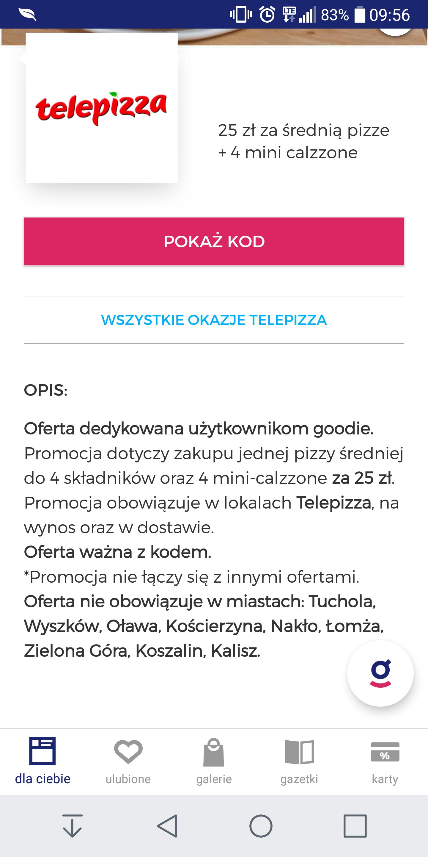 Telepizza 1 średnia pizza i 4 mini-calzone w cenie 25 zł