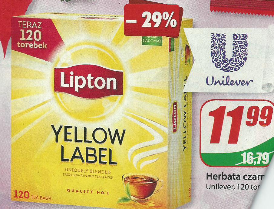 Herbata czarna Lipton 120 torebek @DINO