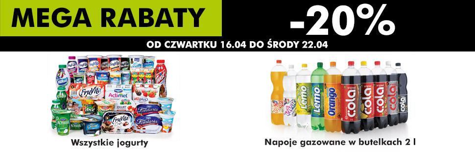 2l napoje gazowane w butelkach oraz jogurty taniej o 20% @ Biedronka
