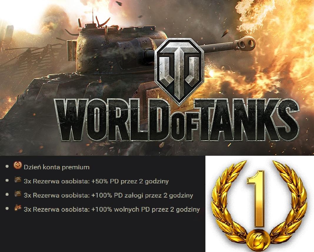 World Of Tanks - kod na 1 dzień konta premium + 9 rezerw osobistych