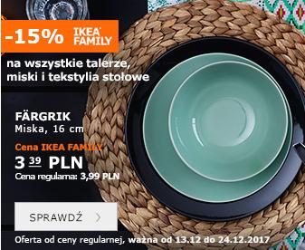 -15% na wszystkie talerze, miski i tekstylia stołowe @ Ikea Family