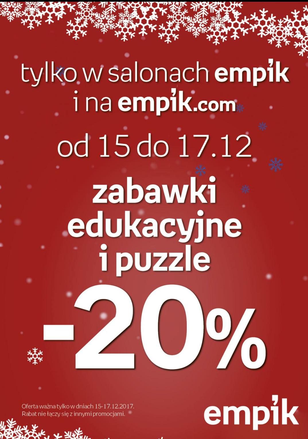 Zabawki edukacyjne i puzzle -20% Empik