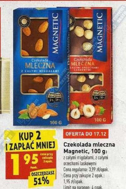 Czekolada mleczna Magnetic z całymi orzechami laskowymi lub z całymi migdałami 100g przy zakupie 2 sztuk @Biedronka
