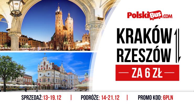 Kraków <-> Rzeszów za 6 zł! PolskiBus od 14 do 21 grudnia