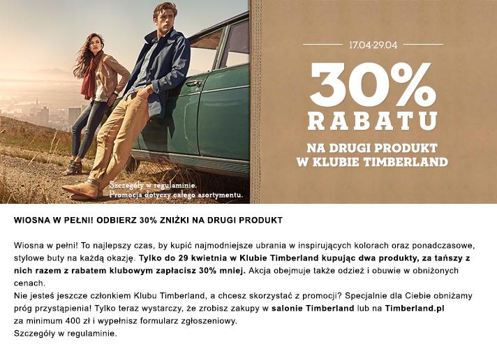 30% rabatu na drugi produkt dla stałych klientów @ Timberland